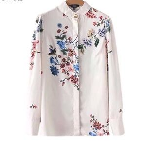 COMING SOON Silk White flower embellished blouse